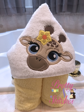Giraffe Girl Applique Embroidery Designs, stitch area is 4X4, 5X6.25 and 6X7.5