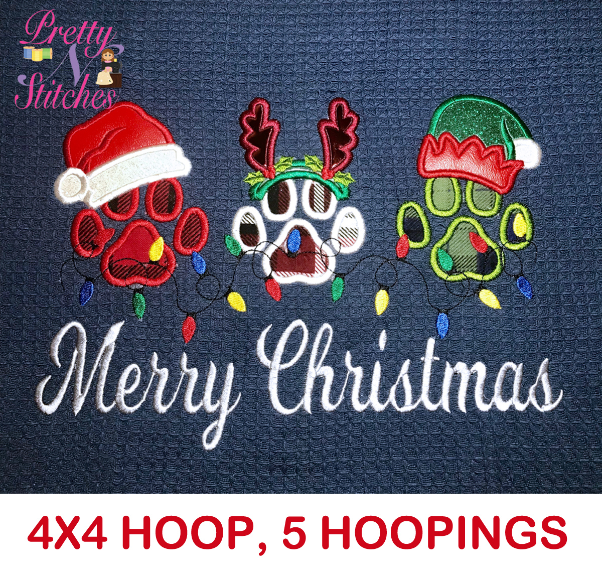 4X4 Paw Print Merry Christmas Applique Embroidery Design is for the 4X4 hoop, 5 hooping's, alignment markings to align each paw
