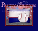 Baseball Horizontal Zipper Bag Embroidery Design 5X7, 6X8, 7X10 and 8X11 includes lined and non lined