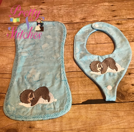 Sleeping Baby Sloth Filled Embroidery Design  includes sizes 3.92X2.24, 4.5X2.57, 5X2.86, 5.5X3.15, 6X3.43, 6.5X3.72 and 7X4 (Burp cloth and Bib NOT INCLUDED)