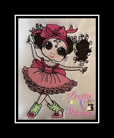 Little Dancer Filled Embroidery Design  approximate sizes included 3.92X2.94, 4.4X4, 5.5X5, 6.65X6 and 7.7X7