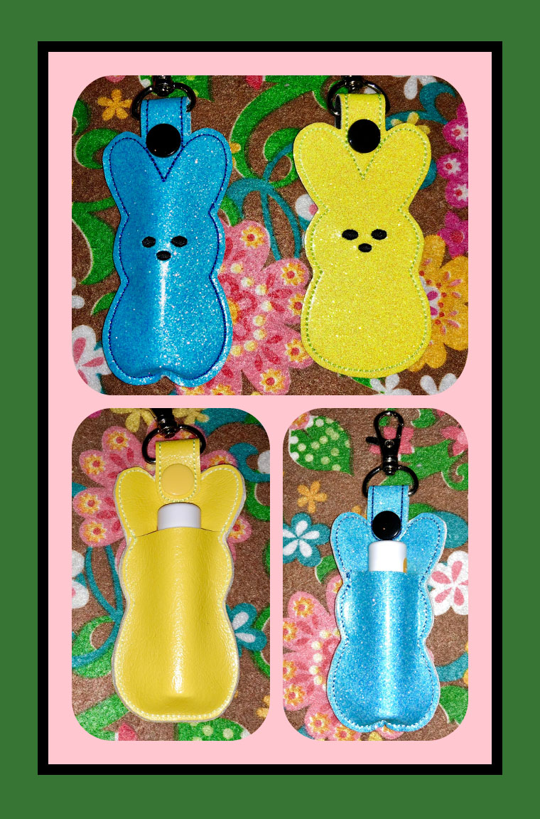 Peeps Bunny Lip Balm in the Hoop Embroidery Design for hoop size 4X4 short tab and 5X7