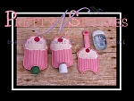 Set of 3  Cupcake_Sanitizer Keeper for 1 oz Bath and Body works, 2 oz Purell and 2.5 oz GermX in hoop sizes 4X4 and 5X7 (4X4 is 2 hoopings)