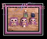 Set of 3 Owl Shape_Sanitizer Keeper for 1 oz Bath and Body works, 2 oz Purell and 2.5 oz GermX in hoop sizes 4X4 and 5X7 (4X4 is 2 hoopings)
