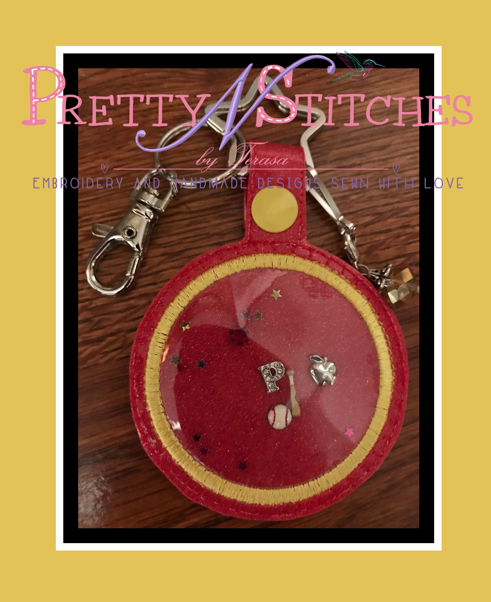 The Hoop Embroidery Designs Circle Shaped Charm and Applique Key Fob for hoop size 4X4 and 5X7
