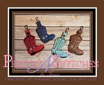 Cowboy Boots Snaptab/Key fob in the Hoop embroidery designs for 4X4, 5X5, 5X7 and 3X6.2