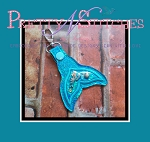 The Hoop Embroidery Designs Mermaid tail Charm Key Fob for hoop size 4X4 and 5X7