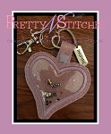 The Hoop Embroidery Designs Heart Shaped Charm and Applique Key Fob for hoop size 4X4 and 5X7