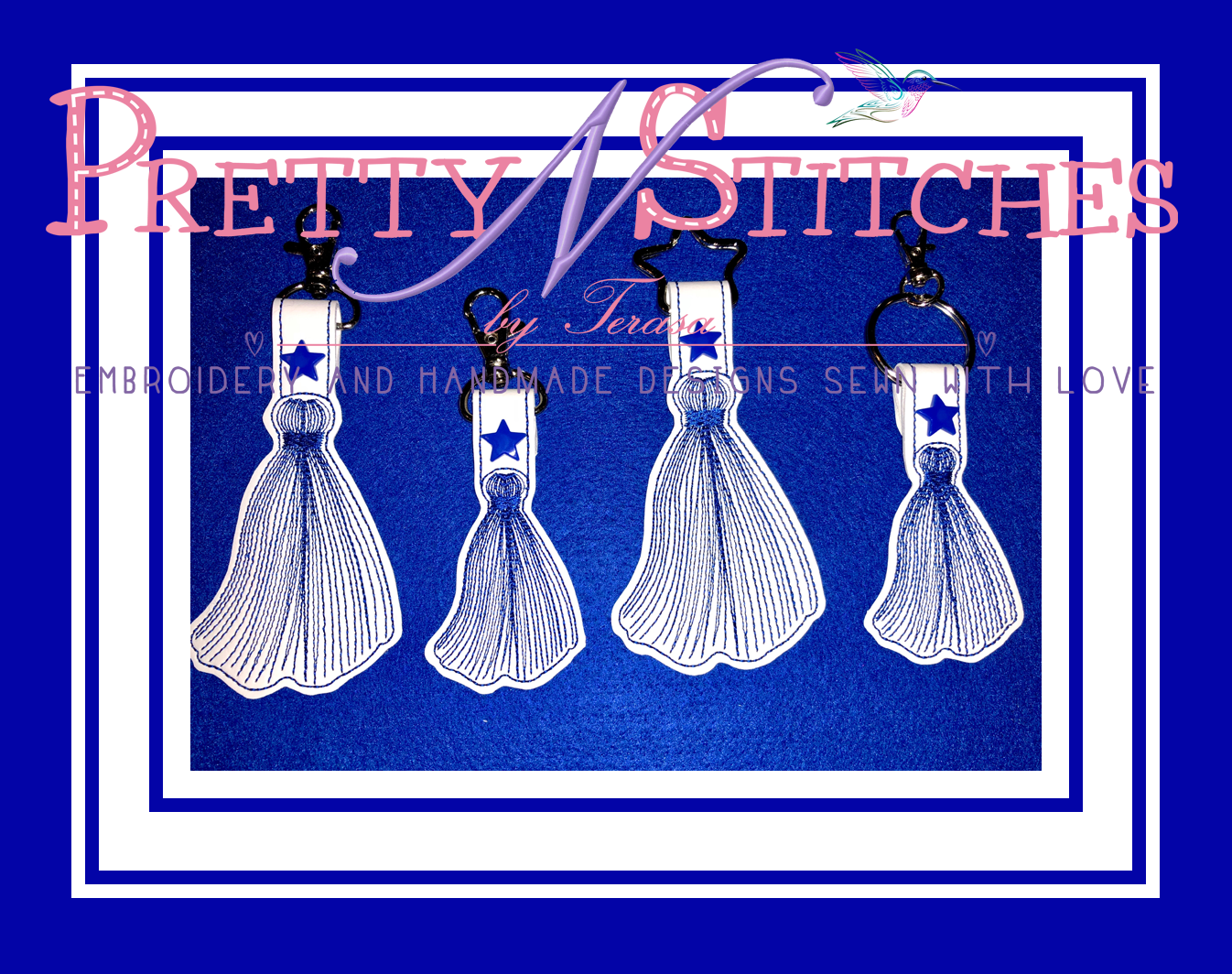 The Hoop Embroidery Designs, Tassel Key Fob with Bonus zipper Pull, for hoop sizes 4X4 and 5X7