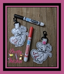 Love you Mouse Key Fob in the Hoop Embroidery Design size 3.25X4.95, 3.92X3.92 and 4.95X6