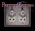 The Hoop Embroidery Designs Opossum Key Fob for hoop size 4X4, 5X7 and 6X10