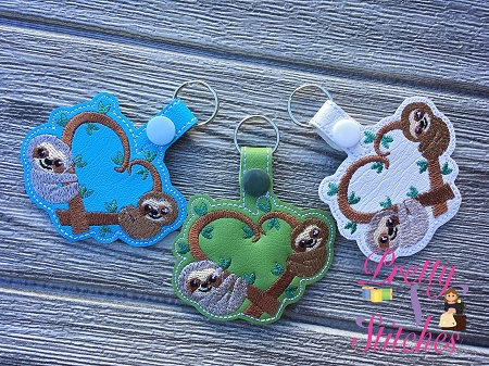 Heart Sloth Key Fob in the Hoop Embroidery Design size 4X4 and 5X7