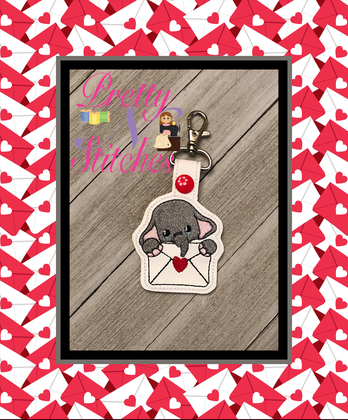 The Hoop Embroidery Designs Valentine Envelope Elephant Key Fob Design size 3.72X3.72 and 2.2X4.5