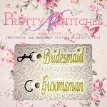 Set of 2 In The Hoop Embroidery Designs, Bridesmaid and Groomsman and 2 sizes for the 5X7 and 6X10 Hoop