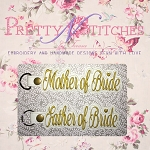 Set of 2 In The Hoop Embroidery Designs, Key Fob, Mother and Father of the Bride and 2 sizes for the 5X7 and 6X10 Hoop