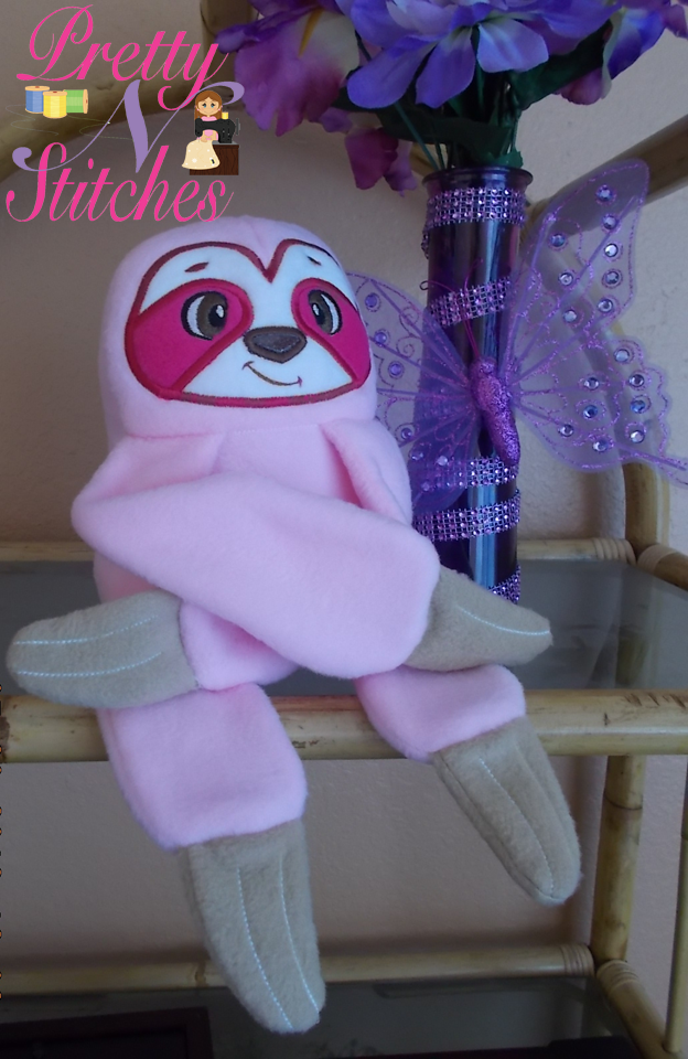 In the hoop Sloth Stuffie, includes 5 sizes 4X4, 5X7, 6X10, 7X11 and 8X13
