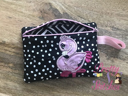Pink Flamingo horizontal Zipper Bag Embroidery Design 4X5, 5X7, 6X8.5, 7X10, and 7.8X11.5 includes lined and non lined