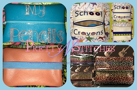 Center Zipper Blank School Supplies Zipper Bag Embroidery Design includes sizes 4.45X5.45, 5X6.5, 3.65X9.15 AND 6.15X9.15  (words not included)