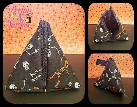 Simi ITH Pyramid Zipper Pouch with Hidden Seams includes 7 sizes 5X5, 5X6, 6X6, 6X7, 7X7, 7X8, 8X8, little machine sewing Digital Download