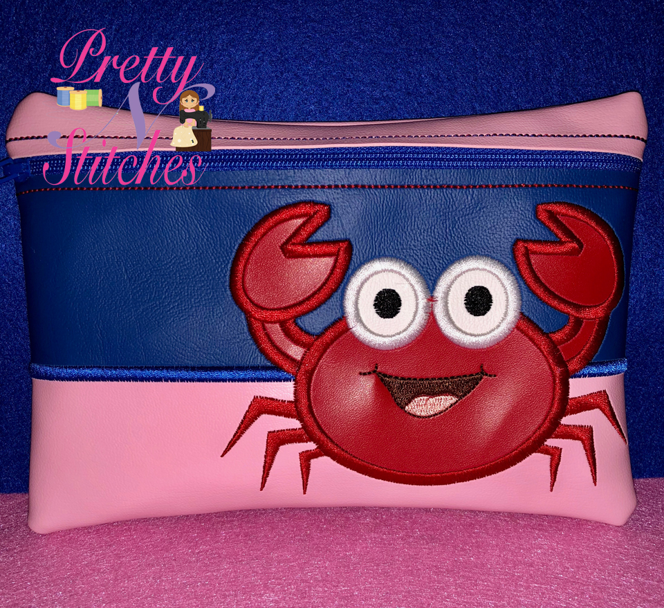 Mr Crabby Horizontal Zipper Bag Embroidery Design includes sizes 5X7, 6X8.5, 7X10, and 8X11.5 and 9X13 includes lined and non lined