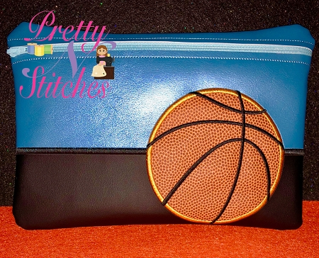 Basketball Horizontal Zipper Bag Embroidery Design 5X7, 6X8.5, 7X11 and 8X11.5 includes lined and non lined