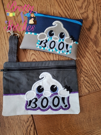 Boo Horizontal Zipper Bag Embroidery Design 4X5.5, 5X7, 5.75X8, 6X8.5, 7X10, and 7.8X11.5 includes lined and non lined