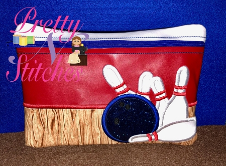 Bowling Horizontal Zipper Bag Embroidery Design 5X7, 6X8.5, 7X11 and 8X11.5 includes lined and non lined