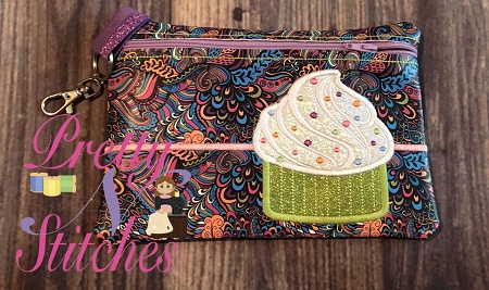 Cupcake Horizontal Zipper Bag Embroidery Design 5X7, 5.75X8, 6X8.5, 7X11 and 8X12.5 includes lined and non lined