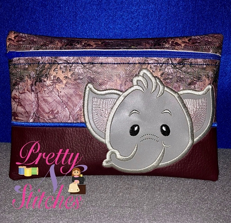 Elephant Horizontal Zipper Bag Embroidery Design includes sizes 5X7, 6X8.5, 7X10, and 8X11.5 and 9X13 includes lined and non lined