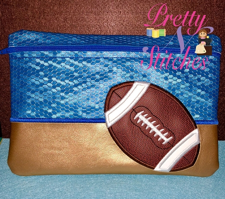 Football Horizontal Zipper Bag Embroidery Design 5X7, 6X8.5, 7X11 and 8X11.5 also includes lined and non lined