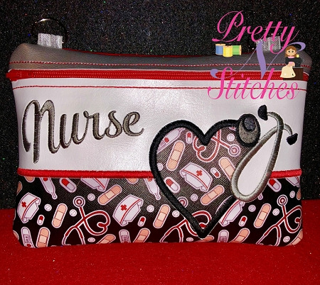 Nurse Horizontal Zipper Bag Embroidery Design includes sizes 5X7, 6X8.5, 7X10, and 8X11.5 and 9X13 includes lined and non lined