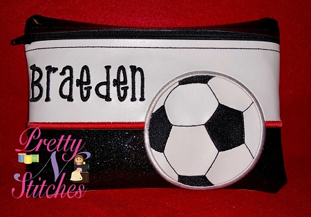 Soccer Horizontal Zipper Bag Embroidery Design includes sizes 4X5.6, 5X7, 6X8.5, 7X10, and 7.8X11.5 includes lined and non lined