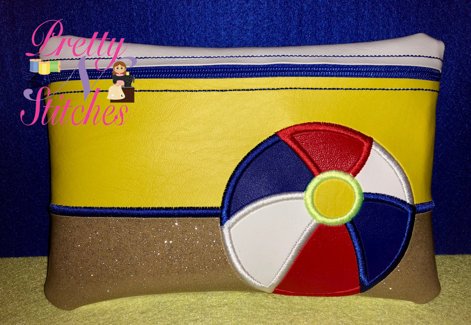 Beachball Horizontal Zipper Bag Embroidery Design 5X7, 6X8.5, 7X11 and 8X11.5 includes lined and non lined