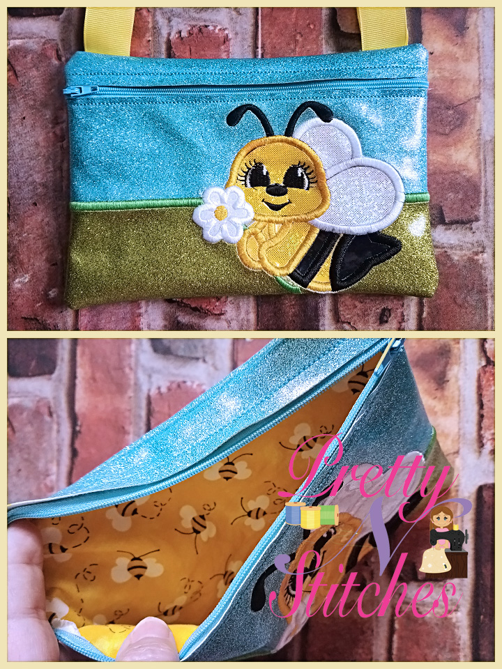 Bee Horizontal Zipper Bag Embroidery Design includes sizes 5X7, 6X8.5, 7X10, and 8X11.5 and 9X13 includes lined and non lined