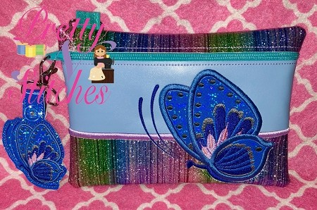 Butterfly Horizontal Zipper Bag Embroidery Design includes sizes 5X7, 6X8.5, 7X10, and 8X11.5 and 9X13 includes lined and non lined plus bonus zipper pull