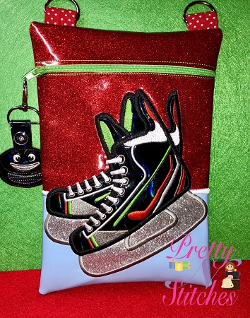 Hockey Vertical Zipper Bag Embroidery Design includes sizes 4X5.6, 5X7, 6X8.5, 7X10, and 7.8X11.5 includes lined and non lined