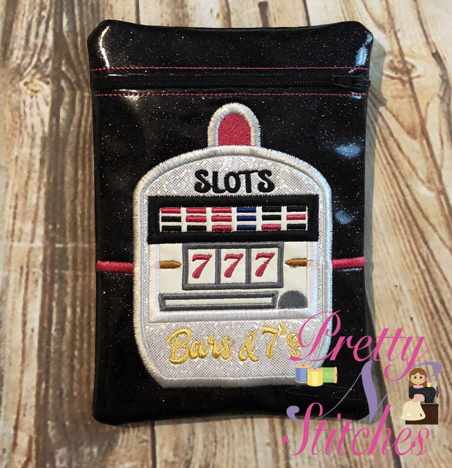 Slot Machine Vertical Zipper Bag Embroidery Design includes sizes 5X7, 6X8.5, 7X10, and 8X11.5 and 9X13 includes lined and non lined