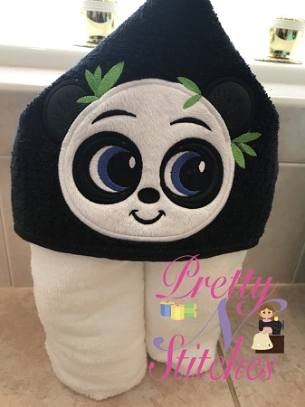 Panda Bear Boy Applique Embroidery Designs, stitch area is 4X4, 5X6.5 and 6X7.5