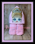 Big Eyed Beauty Princess Karen Applique Peeker Embroidery Design hoop 4X4 and 5X7 and 6X10