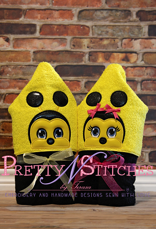 Baby Bee Boy and Girl Applique Embroidery Designs, stitch area is 4X4 and 5X7