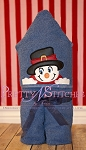 Snowman Boy Applique Peeker Embroidery Design hoop 4X4 and 5X7
