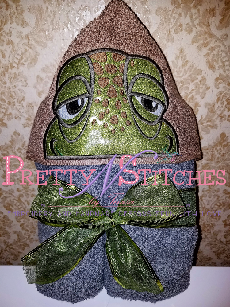 Old Turtle Applique Peeker Embroidery Design hoop 4X4 and 5X7