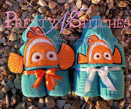 2D and 3D Clown Fish Applique Peeker Embroidery Design hoop 4X4 and 5X7