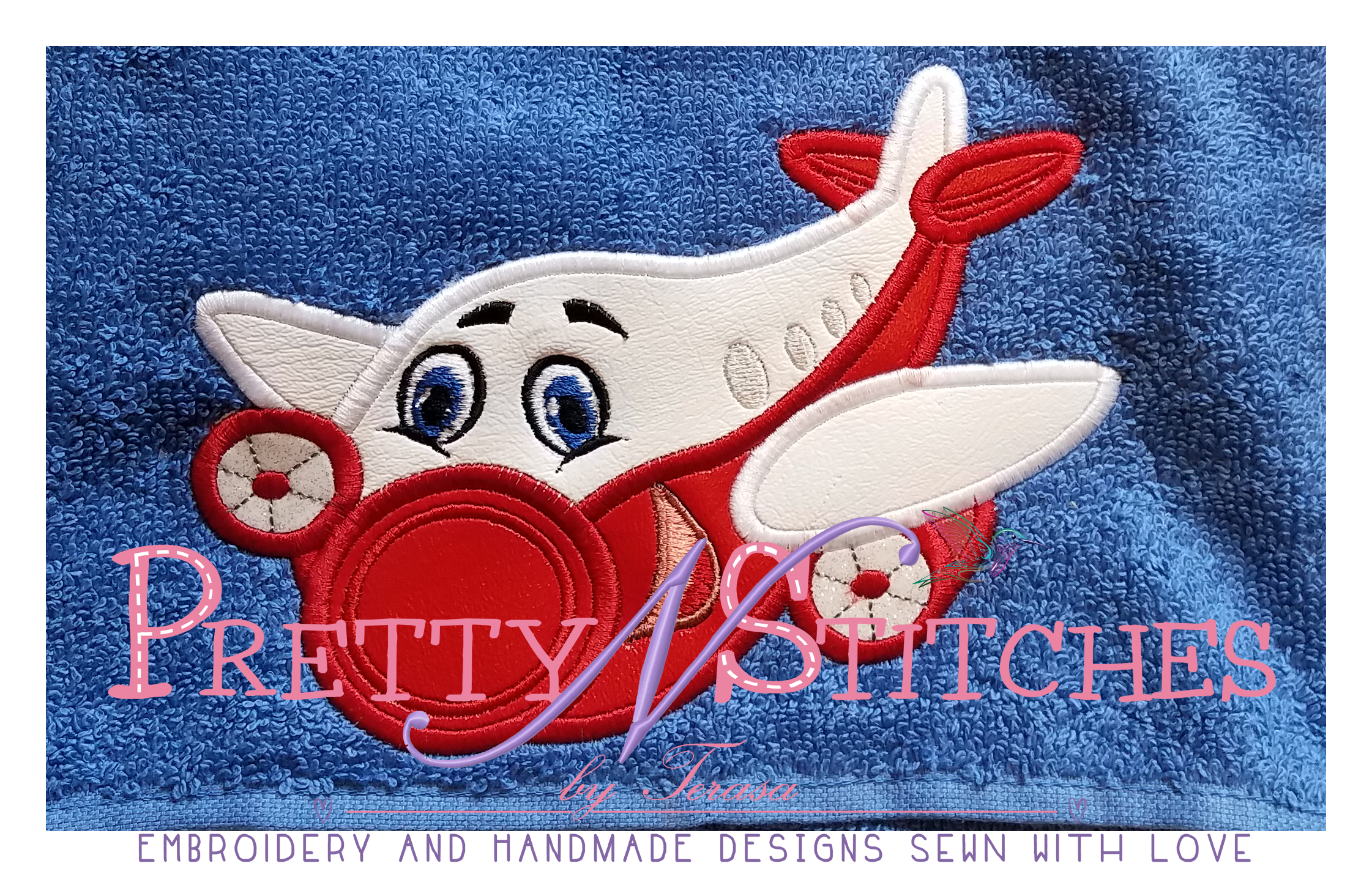 Happy Airplane Applique Embroidery Designs, stitch area is 4X4, 4.3X6, 5X7 and 6X10