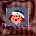 Raggedy Andy Applique Full Face Embroidery Design hoop 4X4, 5X7 and 6X10