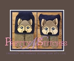 Baby Wolf 2D and 3D Applique Peeker Embroidery Design hoop 4X4 and 5X7