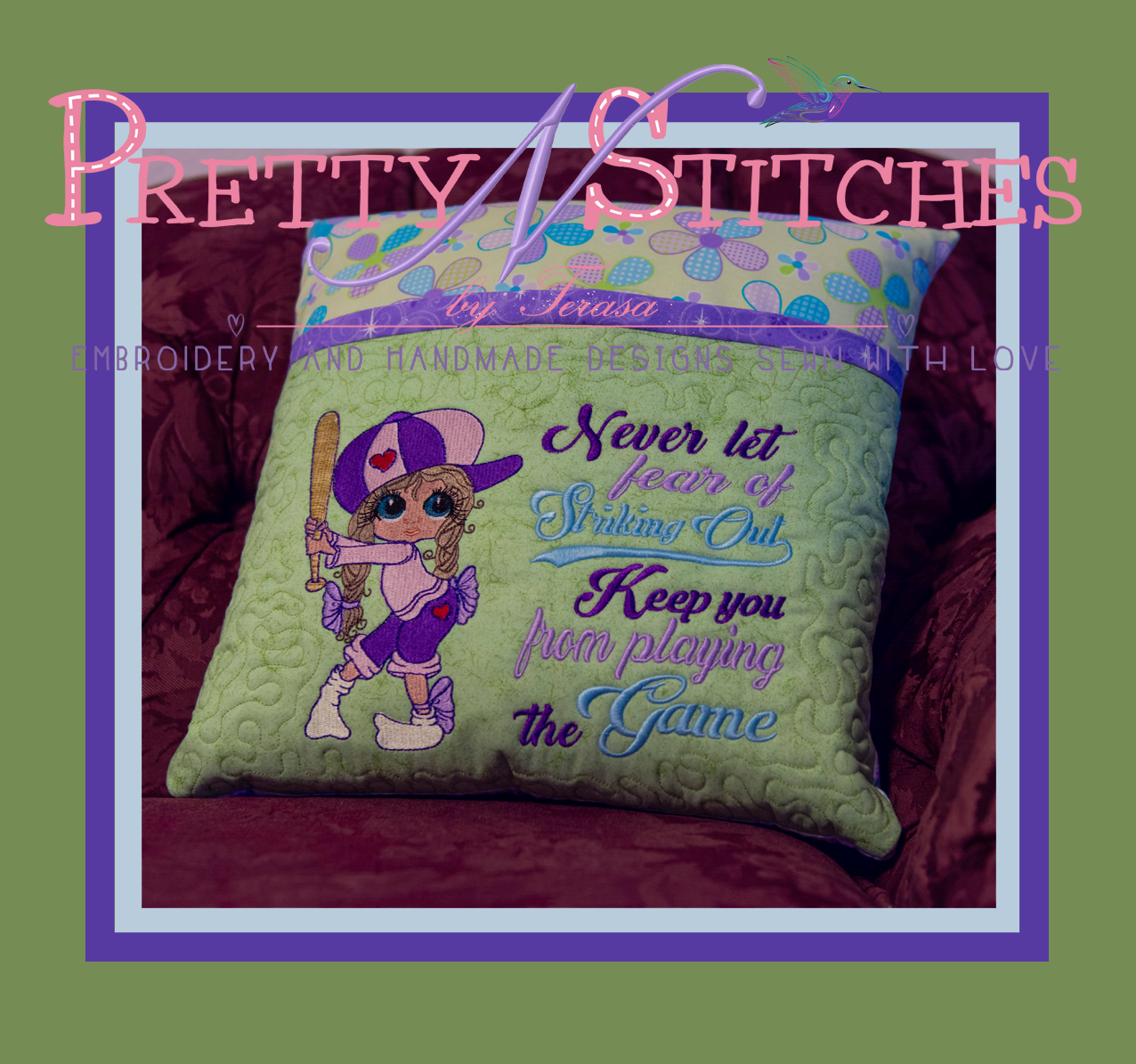 Never Let Fear Pillow Embroidery Design  includes 4X4 - 3 hoopings, 5X7- 2 hoopings, 6X8.6, 7X10 and 8X11.45 - 1 hooping with bonus 13X16 design with stipple