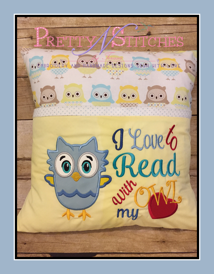 Owl My Heart Pillow Embroidery Design  includes 5X7- 2 hoopings, 6X10, 7X11, and 8X12 - 1 hooping