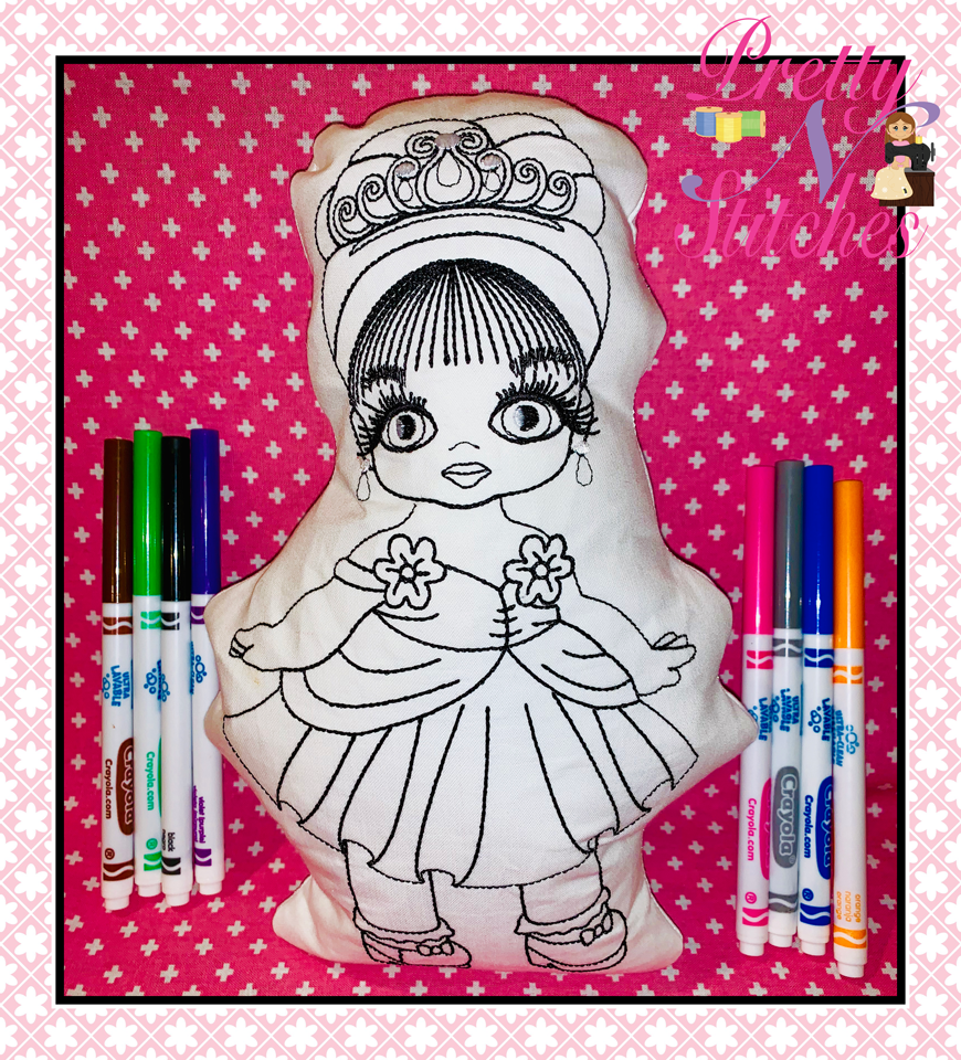 Princess Karen Linework and In the Hoop Coloring Stuffie embroidery designs , includes 5 sizes Stuffie -4X5.6, 5X7, 6X8.4 7X9.8 and 8X11.2: linework for 2.4X3.92, 3.4X5.6, 4.2X7, 6X9.88, 7X11.5 hoops