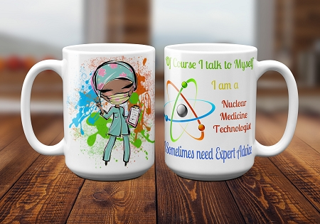 "Nuclear Medicine Technologist  Mug Sublimation Design Template includes 8 PNG templates in 300 dpi and light and dark skin tones, Mug Sublimation Template design 8.65"" X 3.87"""